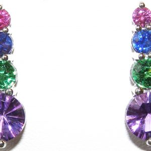 Bright Colorful Multi-gemstone Earrings 18KWG 4.00 ctw
