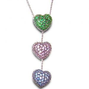 Beautiful Heart Motiff Sapphire Tsavorite Pave Necklace 14KWG 3.00 ctw