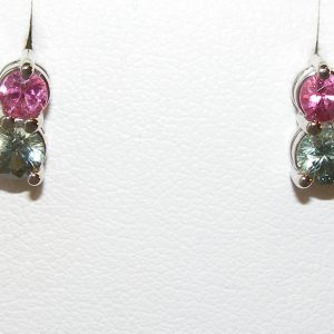 Pink & Green Sapphire Studs 14KWG  1.15 ctw
