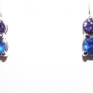 Gorgeous Blue & Purple Sapphire Stud Earrings 14KWG 0.95 ctw