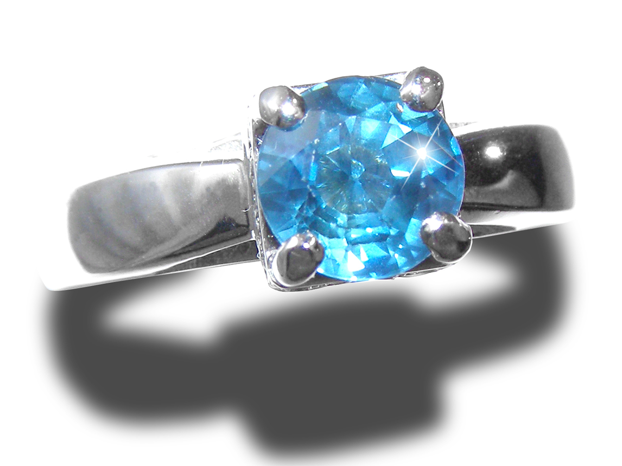 Brilliant Blue/Teal Sapphire Diamond Ring 14KWG 1.75 ctw