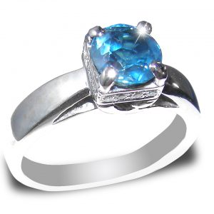 Brilliant Blue/Teal Sapphire Diamond Ring 14KWG 1.75 ctw