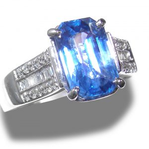 GIA Certified BEST BLUE Ceylon Sapphire Diamond Ring 14KWG 4.75 ctw