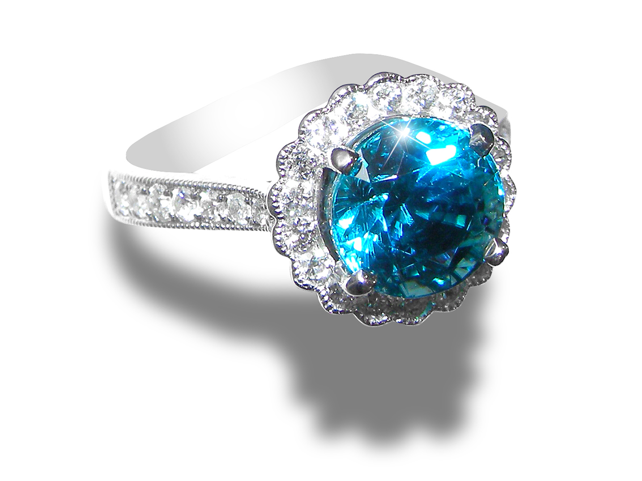 Ideal Faceted Blue Zircon Diamond Ring 18KWG 4.21 ctw