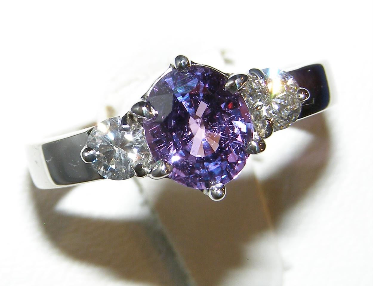 Unheated Certified Purple Sapphire Diamond Ring 18KWG 2.52 ctw