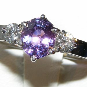 Unheated Certified Purple Sapphire Diamond Ring 18KWG 2.52 ctw