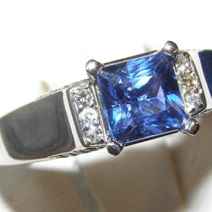 Rare Princess Cut Sapphire Diamond Ring 14KWG 1.29 ctw