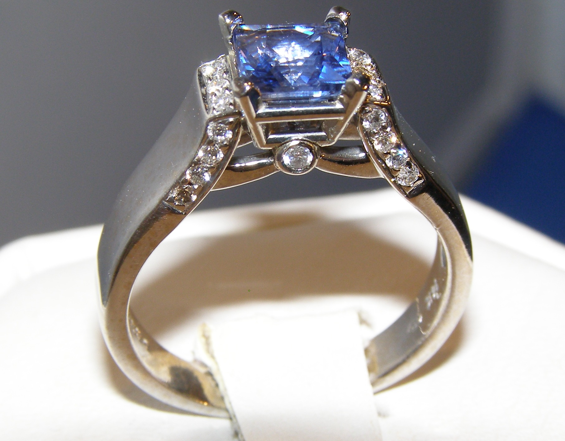 Rare Princess Cut Sapphire Diamond Ring 14KWG 1.29 ctw