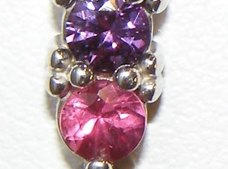 Three Stone Fancy SapphireEarrings 14KWG 1,15 ctw