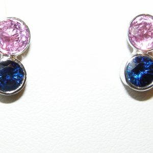 Bezel Ceylon Pink & Blue Sapphire Earrings 18KWG 2.01 ctw