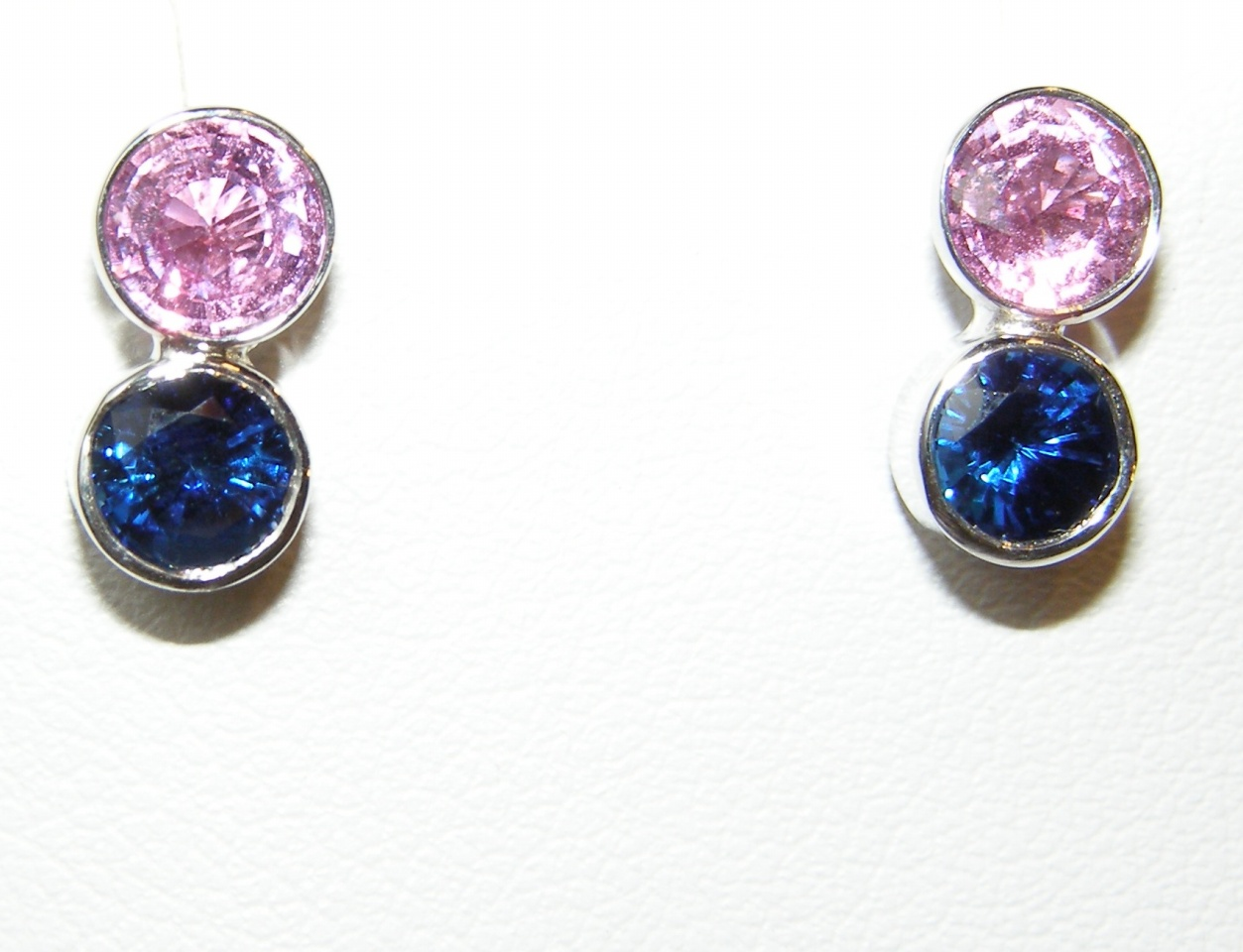 Bezel Ceylon Pink & Blue Sapphire Earrings 18KWG 2.01 ctw