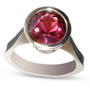 Rubellite Diamond Ring 14KWG 4.06 ctw