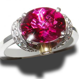Simon G. Designer Rubellite Yellow & White Diamond Ring 18KWG 3.06 ctw