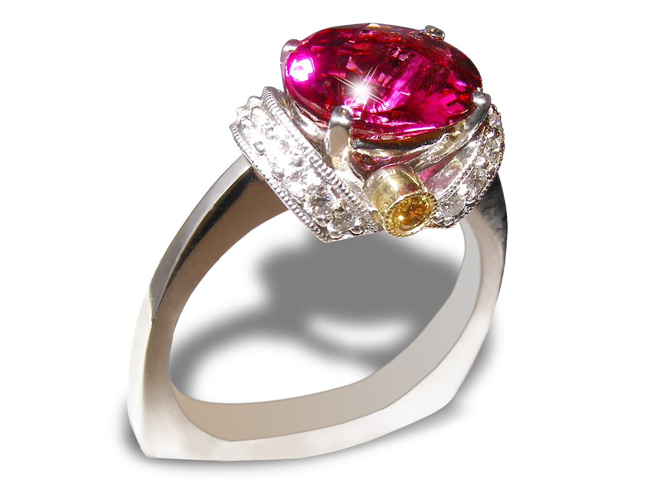 Simon G. Designer Rubellite Yellow & White Diamond Ring 18KWG 3.06 ctw
