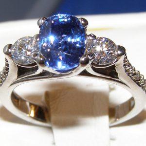 Gorgeous Ceylon Sapphire Diamond Ring 18KWG 2.86 ctw