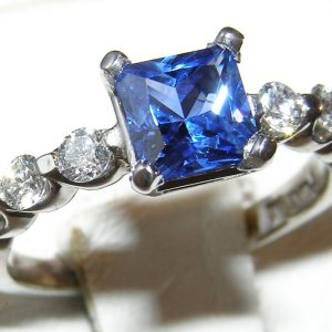Cornflower Blue Sapphire Diamond Platinum Ring 1.65 ctw