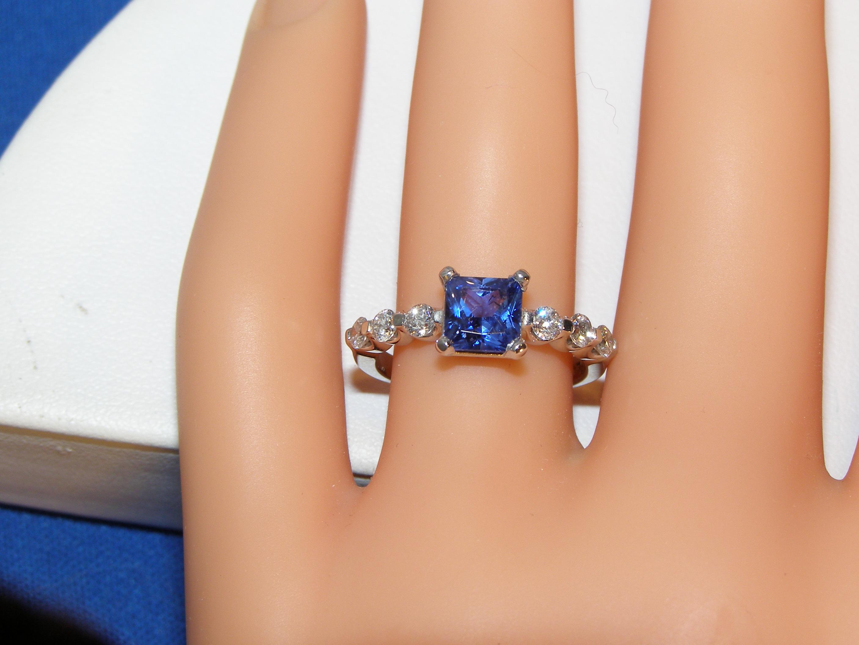 Cornflower Blue Sapphire Diamond Platinum Ring 1.65 ctw