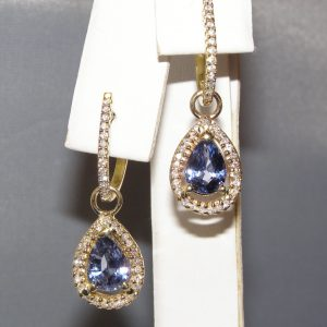 Pear Cut Blue Spinel Diamond Earrings 14KYG 3.72 ct