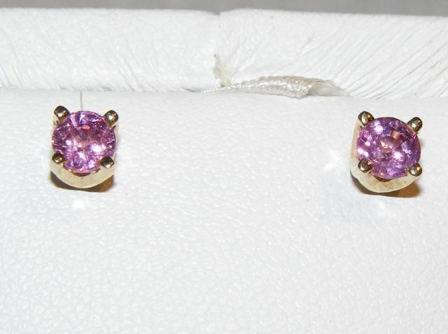 Ceylon Pink Sapphire Studs 14KYG 0.96 ctw