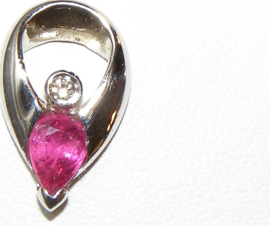 Pear Ruby Diamond Earrings 18KWG 0.94 ctw