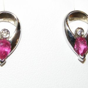 Pear Ruby Diamond Earrings 18KWG 0.94 ctw