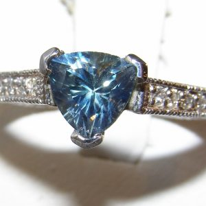Trilliant Cut Blue/Teal Sapphire Diamond Ring 14KWG 1.70 ctw