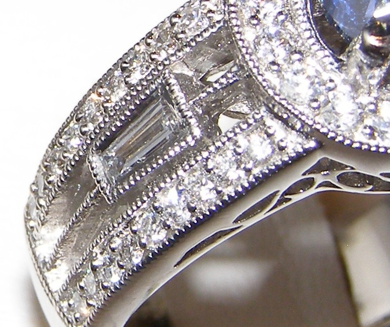 Certified UNHEATED Sapphire Diamond Halo Ring 14KWG 2.26 ctw