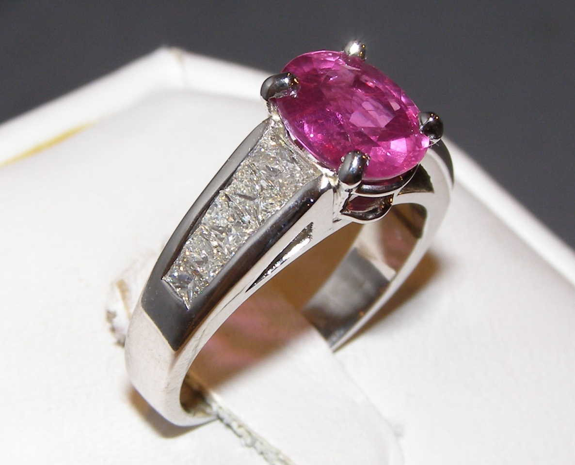 Unheated GIA Certified Ruby Kobi Radiant Diamond Ring 3.19 ctw