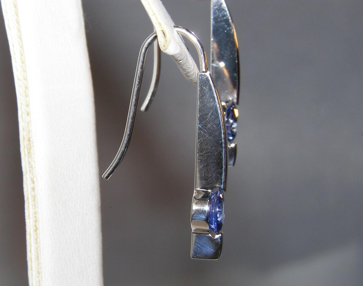 Bar Drop Ceylon Sapphire Earrings 14KWG 1.16 ctw