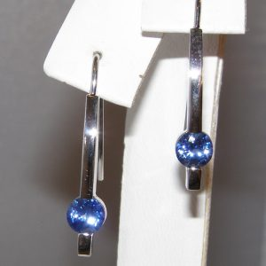 Bar Drop Ceylon Sapphire Earrings 14KWG 1.16 ctw