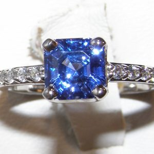 Jeff White Faceted Asscher Sapphire Diamond Ring 18KWG 2.97 ctw