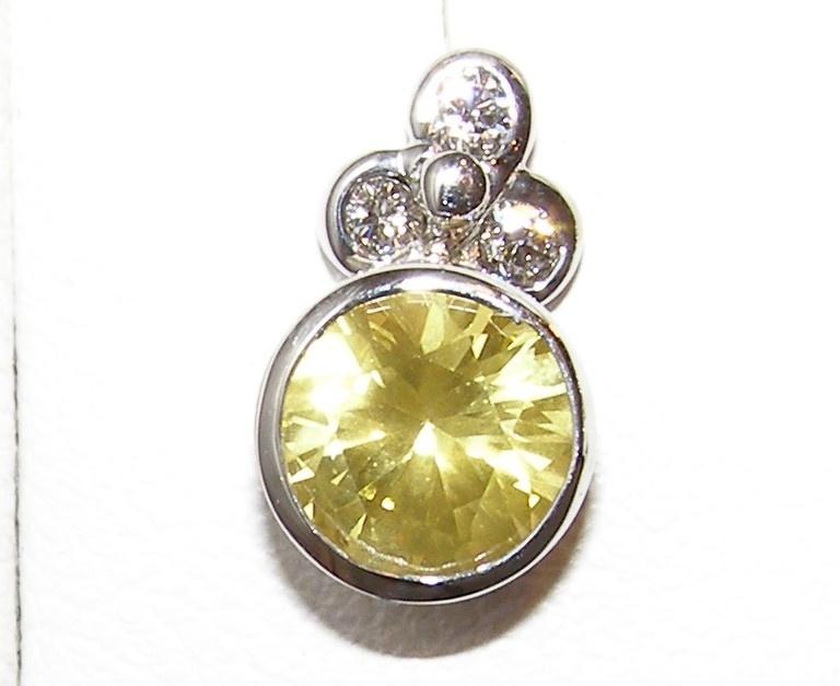 Brilliant Yellow Sapphire Diamond Studs 14KWG 2.22 ctw