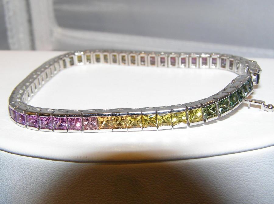 Princess Multicolor Rainbow Sapphire Bracelet 12.00 ctw 14KWG