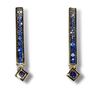 Blue Sapphire Earrings Dangles 14KYG