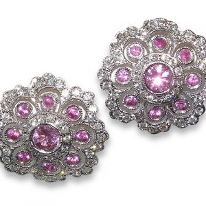Art Deco Pink Sapphire Pave Diamond Earrings 18KWG