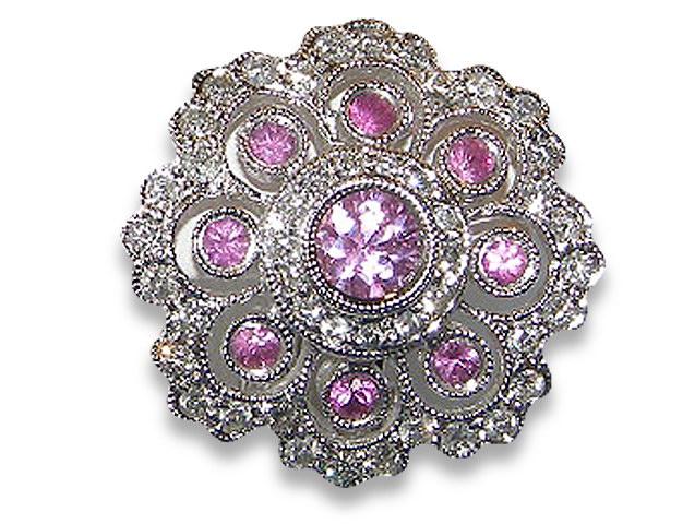Art Deco Pink Sapphire Pave Diamond Earrings 18KWG