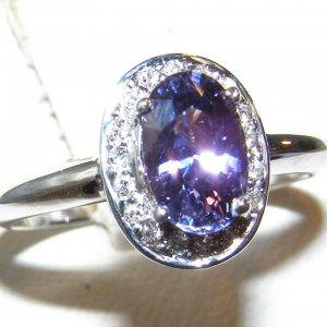 Blue/Purple Sapphire Diamond Halo Ring 14KWG 1.69 ctw