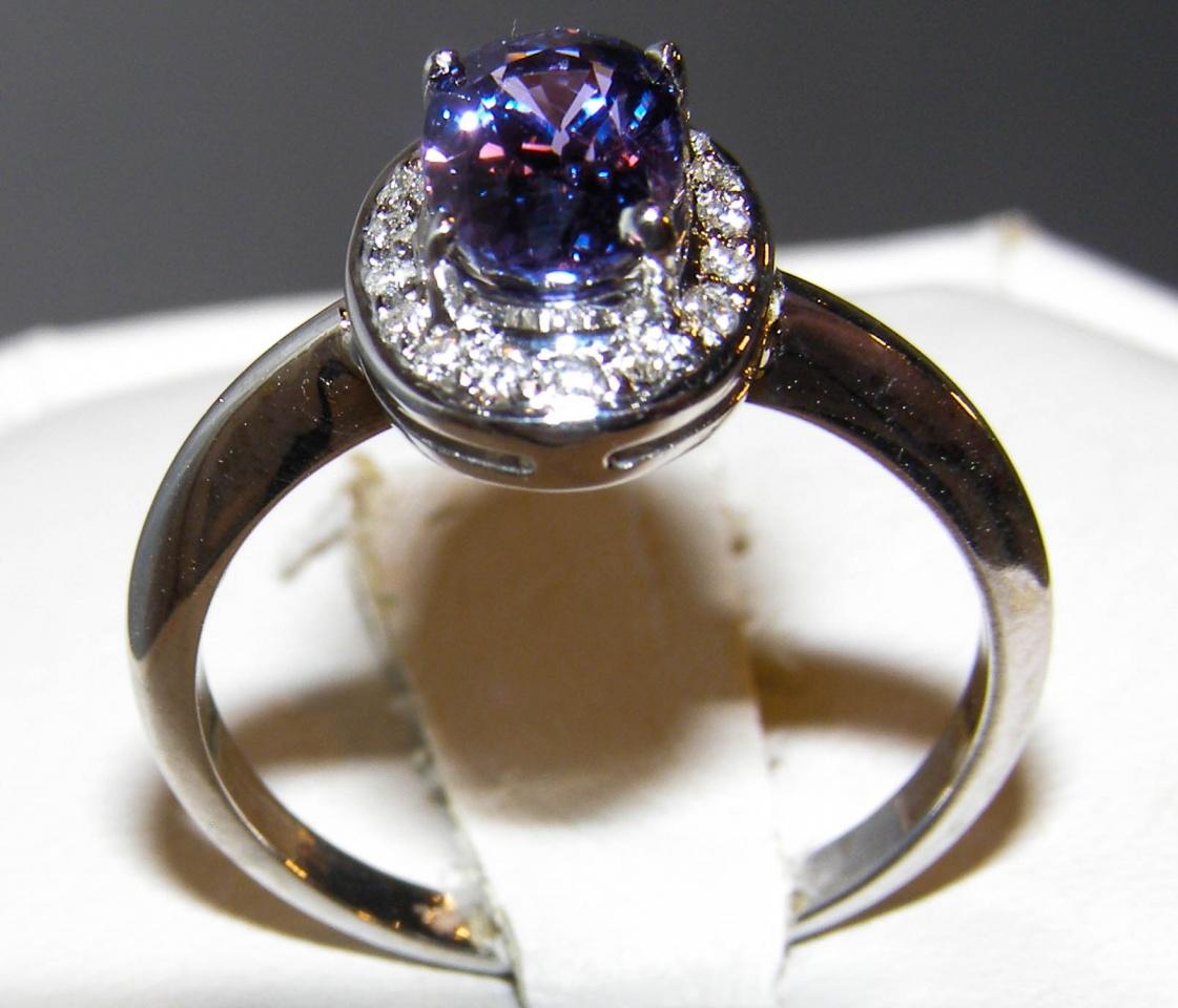 Blue/Purple Sapphire Diamond Halo Ring 14KWG 1.69 ctw