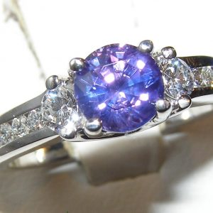 Certified Unheated Purple Sapphire Diamond Designer A Jaffe Ring 18KWG 1.80 ctw