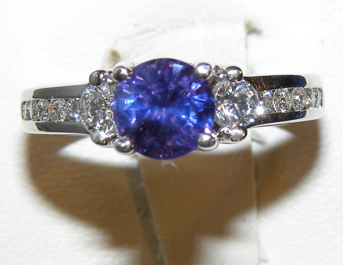 Certified Unheated Purple Sapphire Diamond Designer A Jaffe Ring 18KWG 1.80 ctw