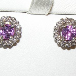 Halo Diamond Ceylon Pink Sapphire Earrings 14KWG 1.60 ctw