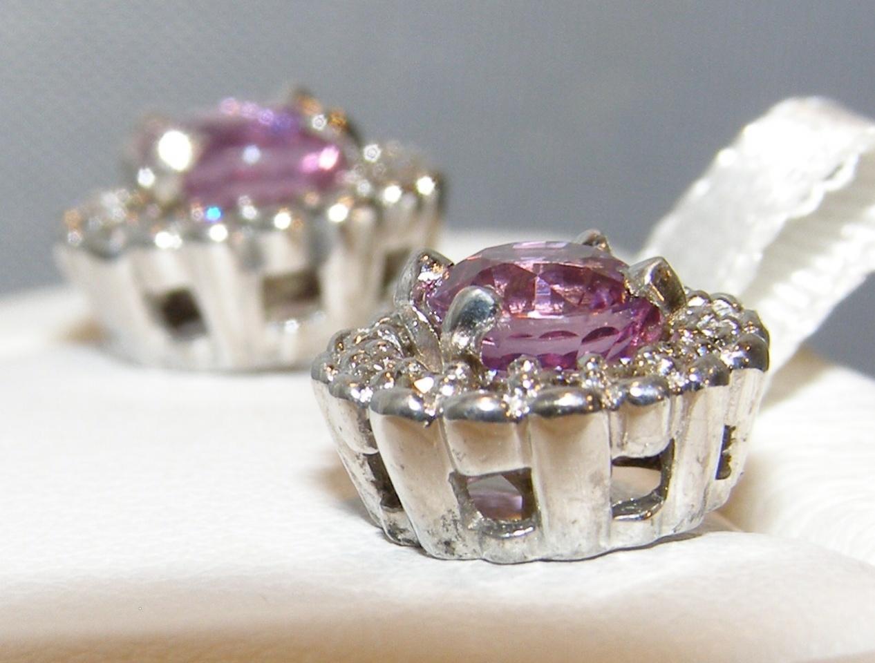 Halo Diamond Ceylon Pink Sapphire Earrings 14KWG 1.60 ctw