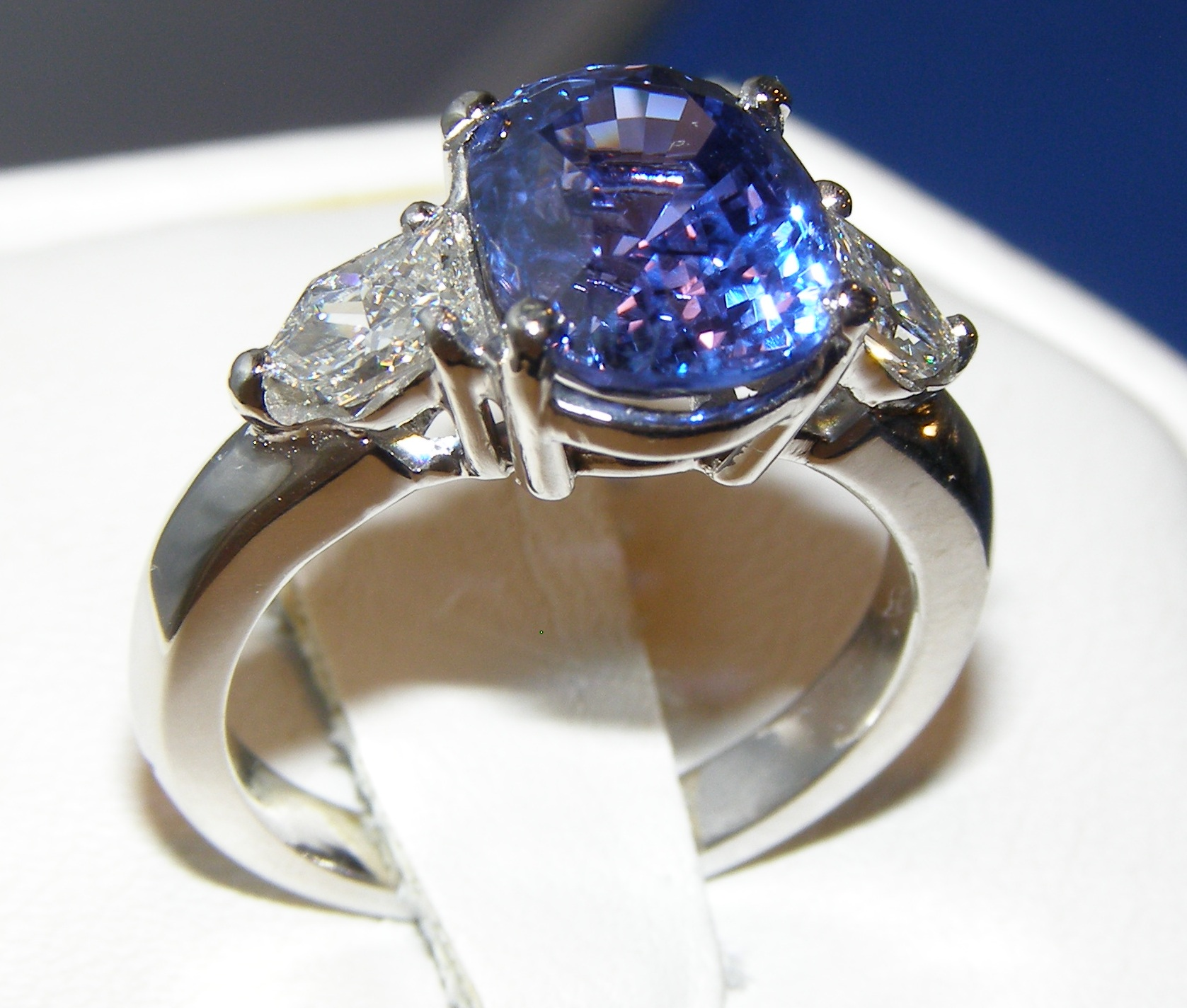 AAA+ UNHEATED AGL Certified Sapphire Diamond Platinum Ring 5.2 ctw