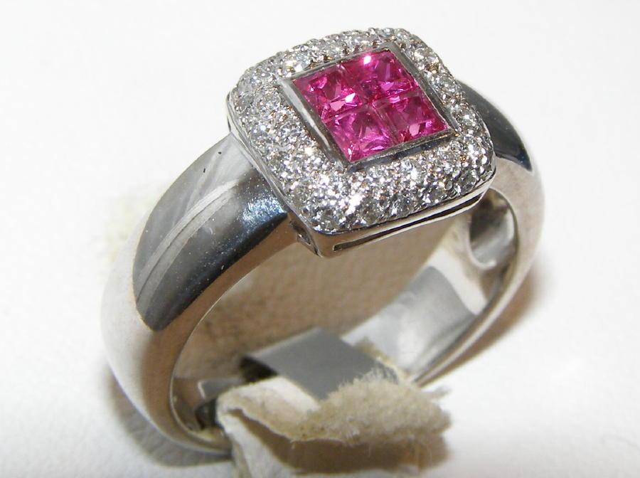 Princess Pink Sapphire Pave Diamond Ring 14KWG