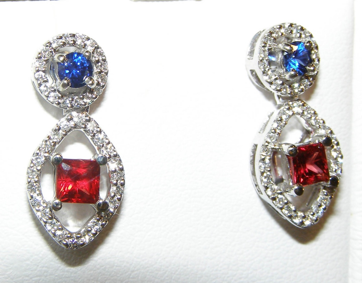 RED (Ruby) & Blue Sapphire Diamond Dangles 14KWG 1.65 ctw