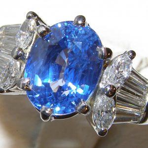 AGL Certified Ceylon Sapphire Platinum Diamond Ring 6.50 ctw