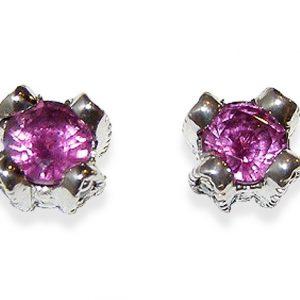 Ceylon Pink Sapphire Pave Diamond Studs 18KWG