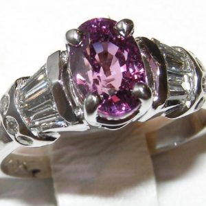 Pink/Violet Sapphire Diamond Ring 14KWG