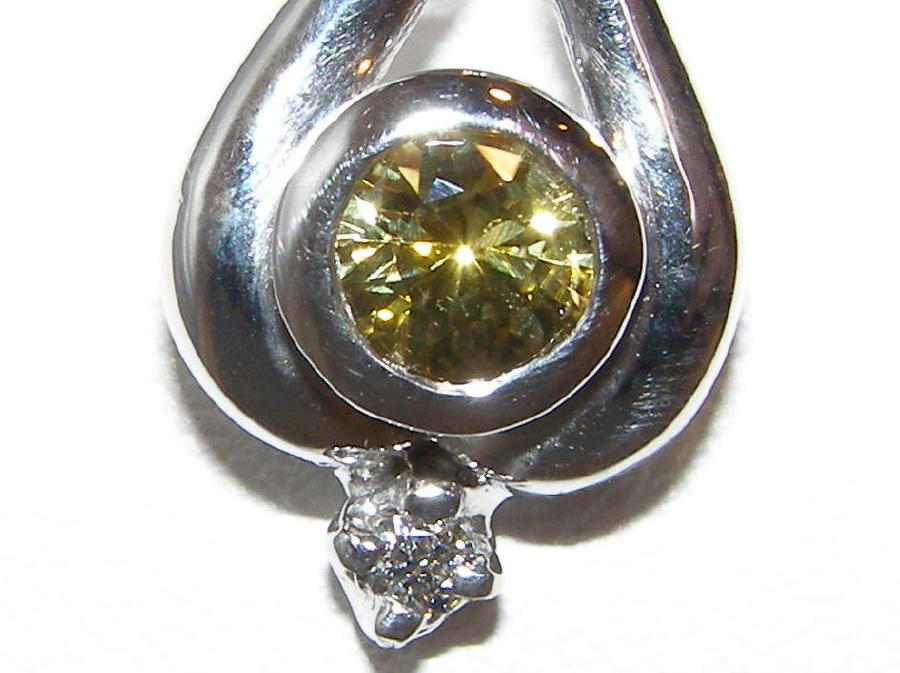 Yellow Sapphire Diamond Pendant 14KYG