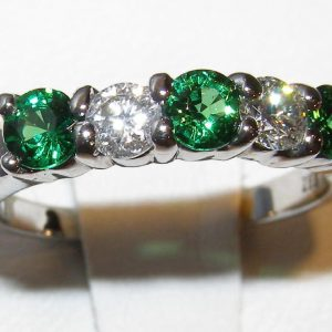 Tsavorite Diamond Band 14KWG